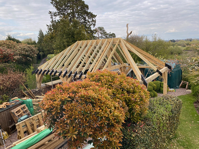 Softwood roof 75% complete