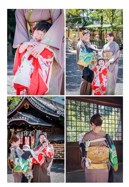 春のお宮参りで川原神社へ 家族全員が和装