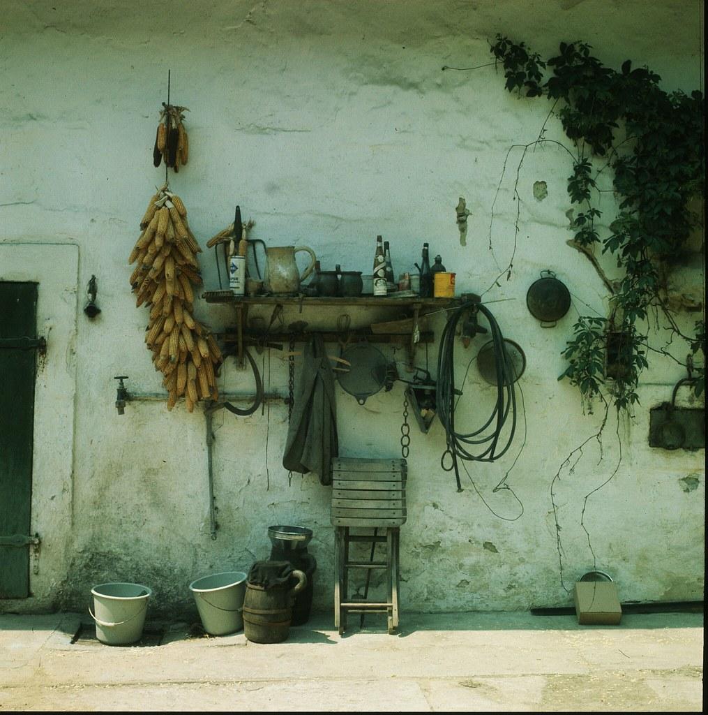15. Початки кукурузы висят для сушки на краю сарая в небольшом городке Мёрбиш-ам-Зе, недалеко от озера Нойзидер  в Бургерланде