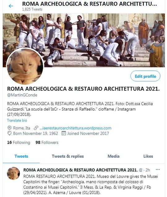 ROMA ARCHEOLOGICA & RESTAURO ARCHITETTURA 2021. According to Twitter Via Google Chrome / Translator, I am the either the @POTUS or President Joe Biden is a new contributor to R.A.R.A 2021. Foto: Twitter Via Google Chrome (29/04/2021).