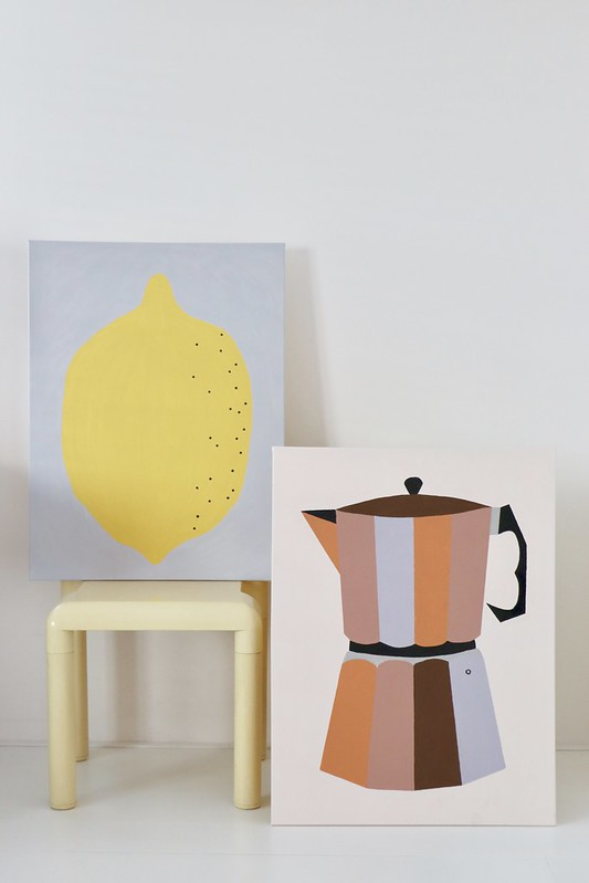 lemon & percolator on canvas