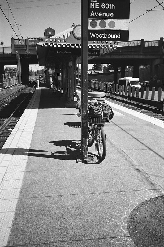 Waiting for the MAX. NE 60th Station, 14 April 2021