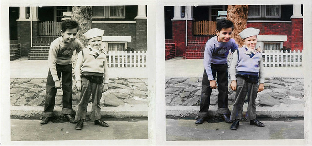 b&w to color vintage children from the 40s