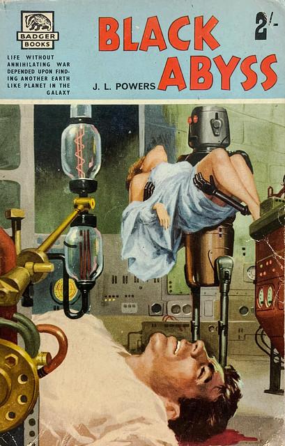 """Black Abyss"" by J. L. Powers (aka, John S. Glasby).  London: John Spencer & Co./Badger Books SF-32 (1960).  Cover Art by Carlo Jacono."