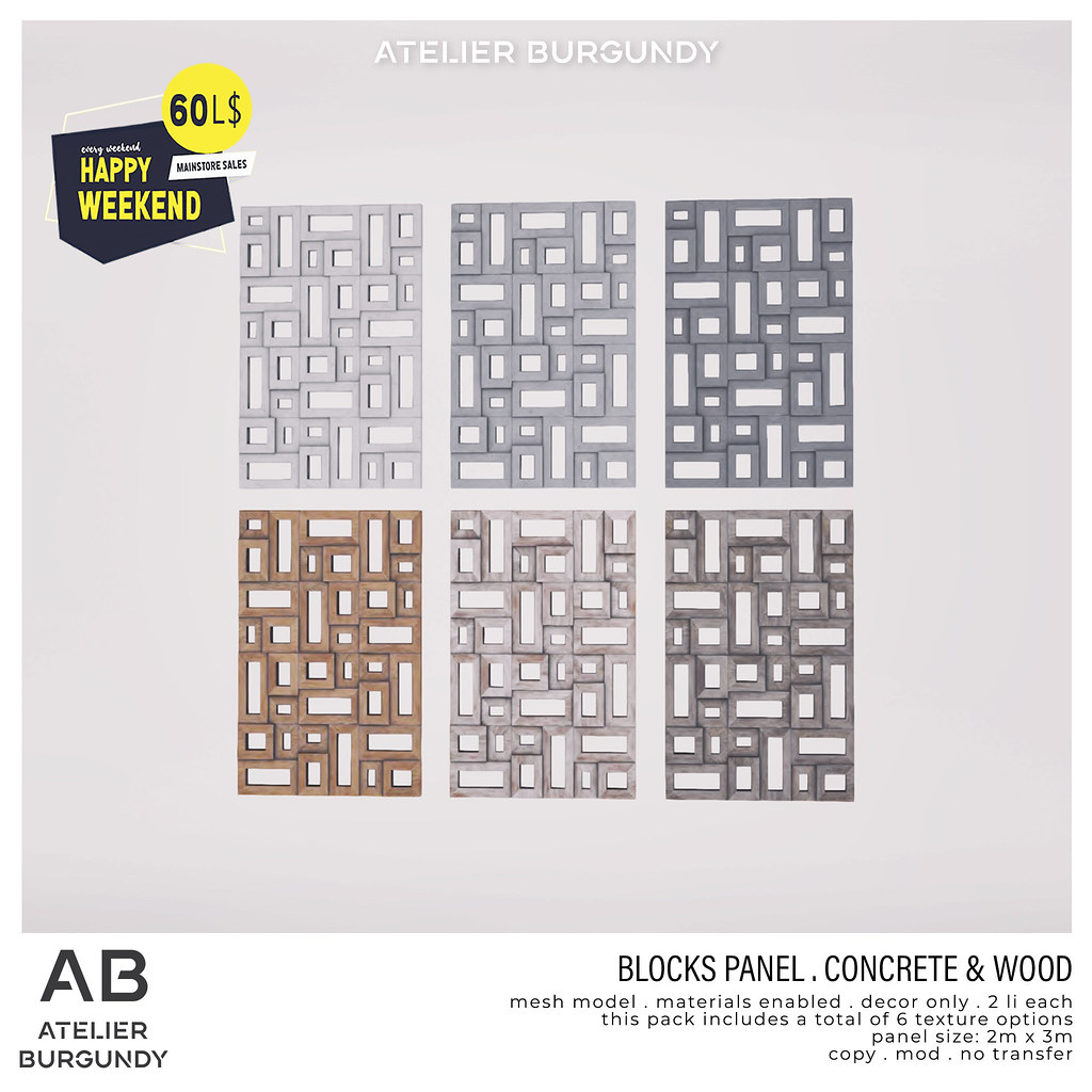 Atelier Burgundy . Block Panel Concrete & Wood HW