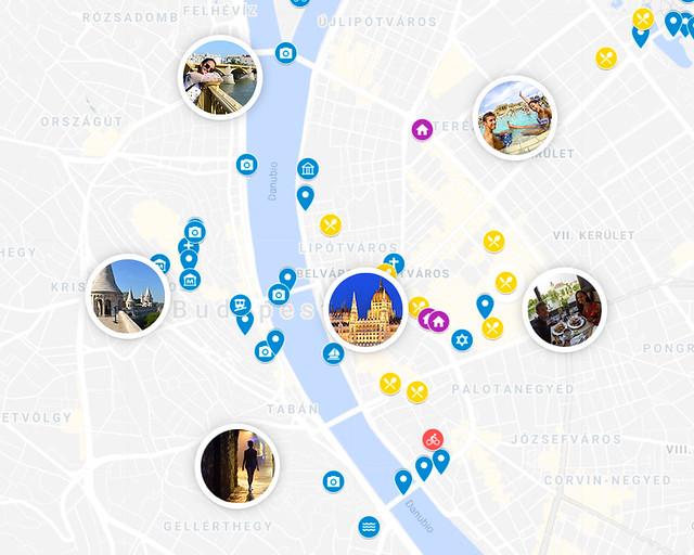 Mapa de la ruta por Budapest en 3 días