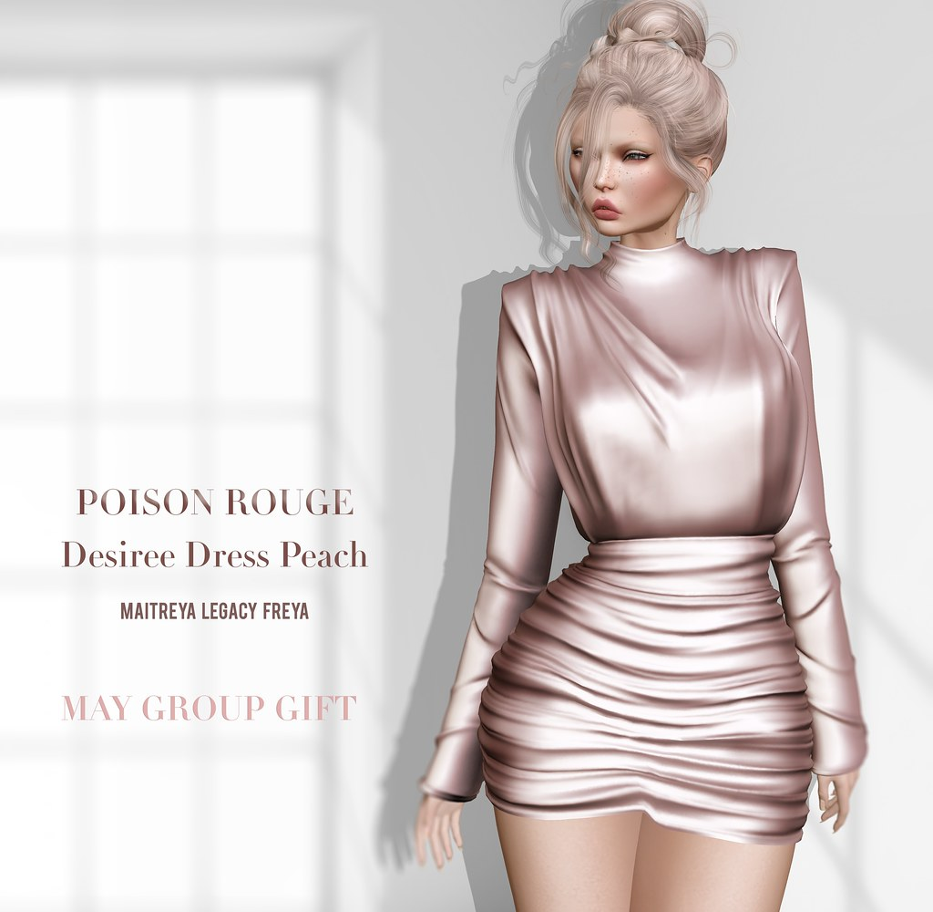 POISON ROUGE Desiree Dress Peach .-MAY GROUP GIFT ❀