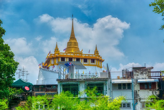 Wat Saket seen from Mahakan Fort park on Rattanakosin island (Old Town) in Bangkok, Thailand