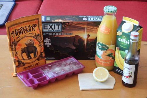 """Zutaten für Banana Jack, indischer Knabber und Escape Game """"Exit – Das Spiel: Der verschollene Tempel"""""""