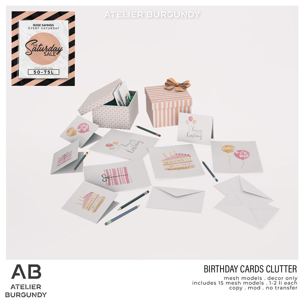 Atelier Burgundy . Birthday Card Clutter SS