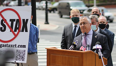 House Republican Leader Vincent Candelora participated in a news conference about Gov. Lamont's plans to install a carbon tax that will increase the cost of gasoline in Connecticut.