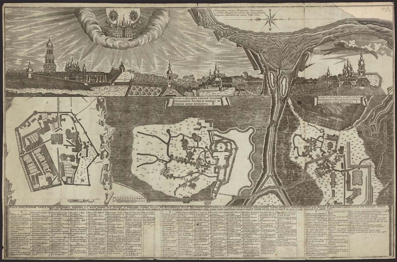 1795. Подробные планы Печерскаго Монастыря и обеих Пещер, сделанные при митрополите Самуиле Миславском
