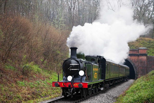 On a wet morning, Billinton E4 no. B473 emerges from the southern portal of Sharpthorne Tunnel with a short local passenger train