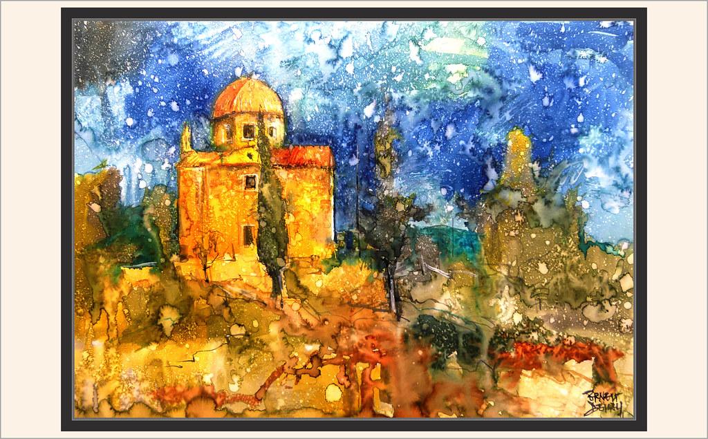 BATEA-CALVARI-PINTURA-ART-ESGLESIA-SANT SEPULCRE-CAPELLES-TERRA ALTA-PAISATGES-AQUAREL·LA-ARTISTA-PINTOR-ERNEST DESCALS