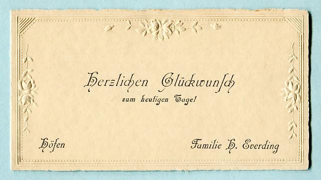 Glückwunschkarte mit  Blindprägung, Rosen