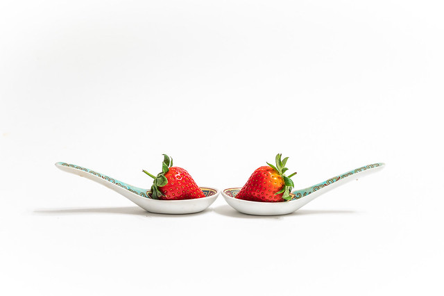 120/365 & 30/30 Strawberries in Chinese Spoons