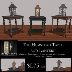 Hemstead Table and Lantern by Galland Homes