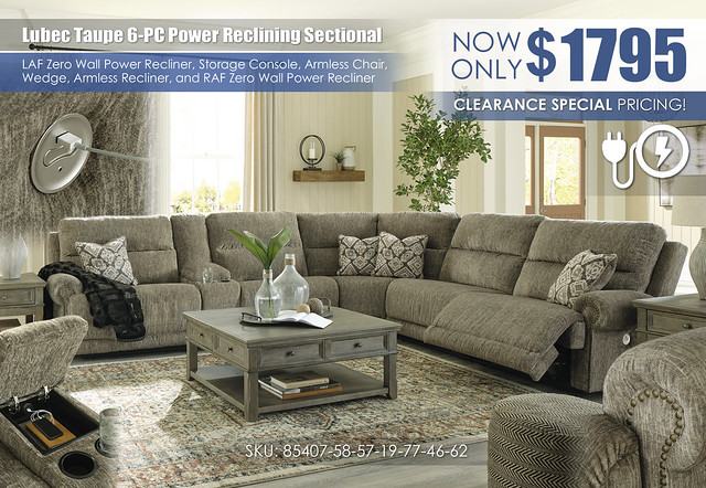 Lubec Taupe 6-PC Power Reclining Sectional_85407-58-57-19-77-46-62-T976
