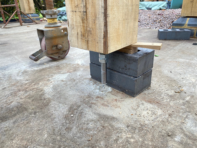 Treaded bar above hole in concrete