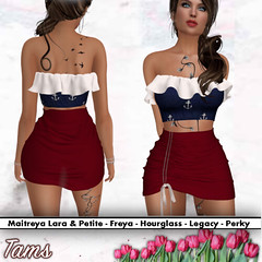 Ruffle Top Bralet and SideRuchedSkirt - Mandy