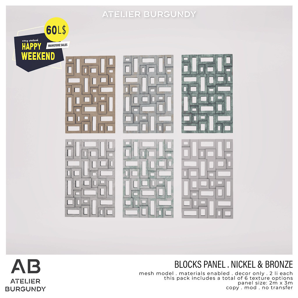 Atelier Burgundy . Block Panel Nickel & Bronze HW