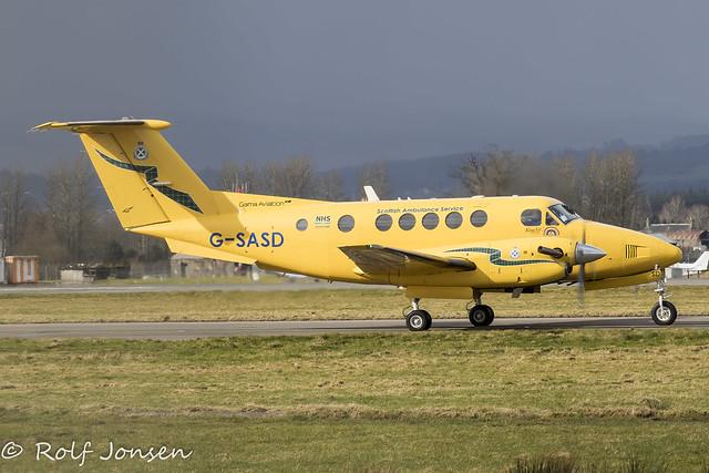 G-SASD Beech B200C Super King Air Gama Aviation Glasgow airport EGPF 13.03-21