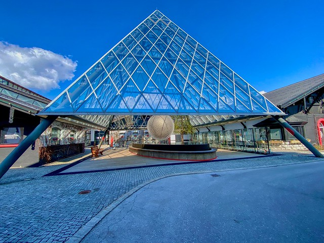 Glass pyramid and sculpture at Glashütte Riedel in Kufstein in Tyrol, Austria