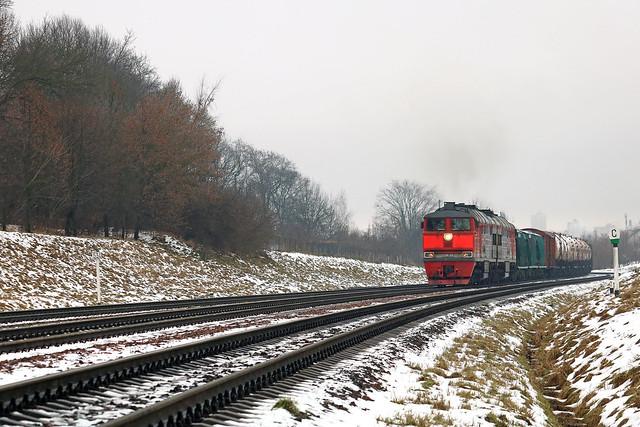 Тепловоз 2ТЭ116-615 с грузовым составом на перегоне Витебск/Чепино.