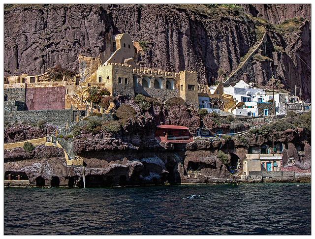 The Cliff below Fira, in Santorini