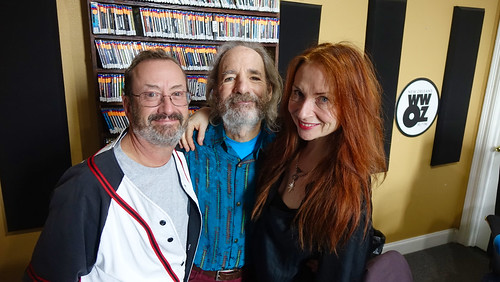 Ron Phillips with Harry Shearer and Judith Owen at WWOZ. Photo by Tom Roche.