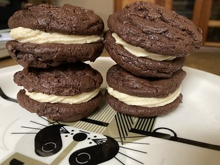 Brownie cookie sandwich with cookie dough buttercream