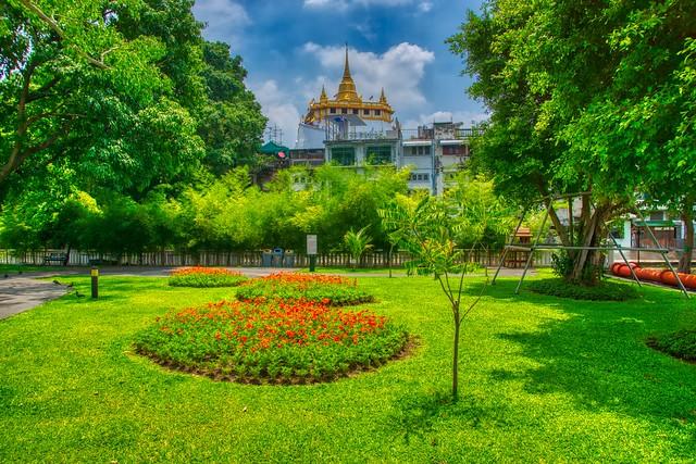 Mahakan Fort Park with Wat Saket on Rattanakosin island (Old Town) in Bangkok, Thailand
