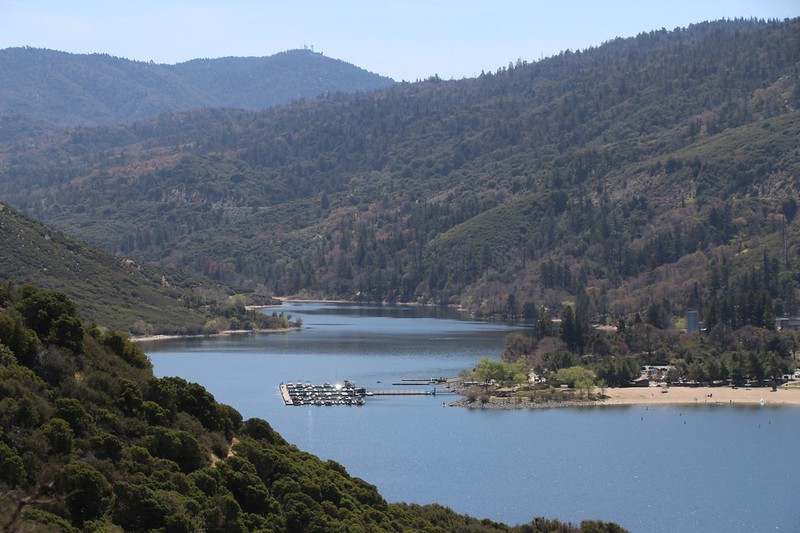 We came over the hilltop and were able to see the Silverwood Lake Marina down below us