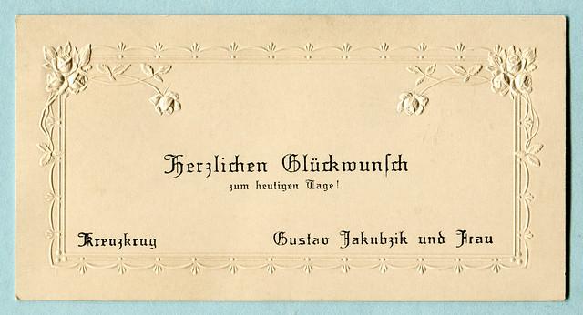Glückwunschkarte mit  Blindprägung, Rosen und ein Rahmen