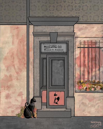 Digital Art image of a cat at a store door.