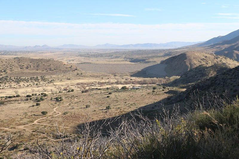 Looking north toward the Highway 173 Trailhead and the Mojave Dam. My car is down there somewhere
