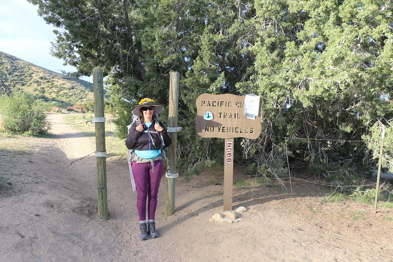 Vicki, ready to hike at the PCT Trailhead