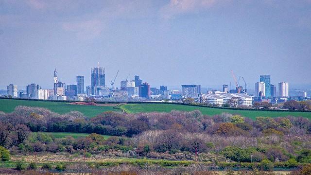 Birmingham Skyline, UK from Waseley Hills