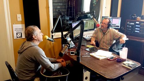 Ron Phillips interviews Zachary Richard. Photo by Tom Roche.