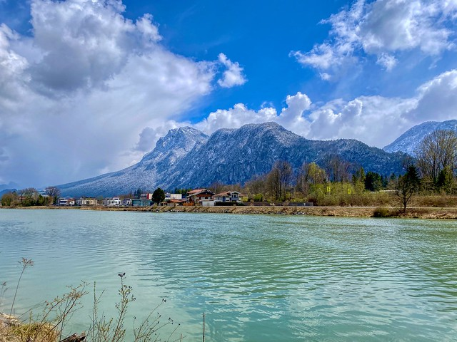 River Inn and Zahmer Kaiser mountain range in Tyrol, Austria