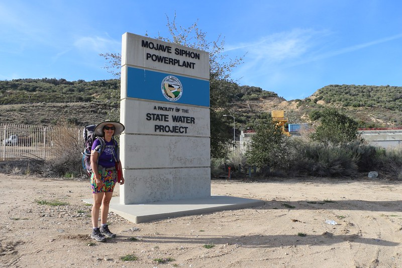 The Mojave Siphon Powerplant sign at the Silverwood Lake Spillway