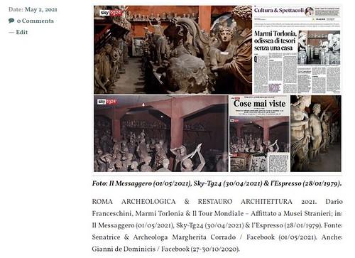ROMA ARCHEOLOGICA & RESTAURO ARCHITETTURA 2021. Marmi Torlonia, an odyssey of treasures without a home. Italy24 News English (02 May 2021). S.v.,  Il Messaggero (01/05/2021), Sky-Tg24 (30/04/20211) & Senator Margherita Corrado / Facebook (01/05/2021).