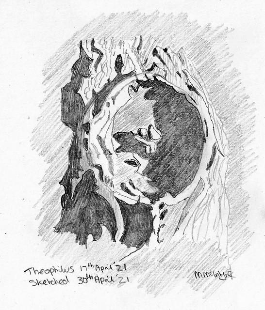 Lunar Crater Theophilus Pencil Sketch 30/04/21
