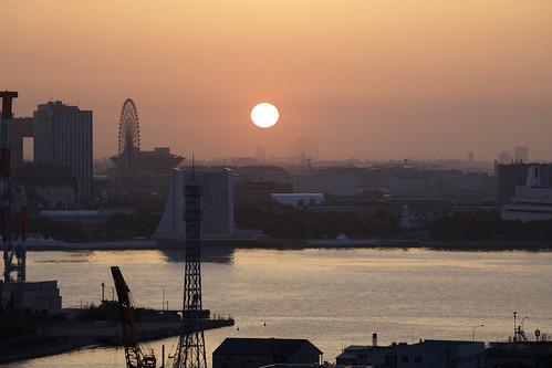 sunrise tokyobay tokyo japan ferriswheel