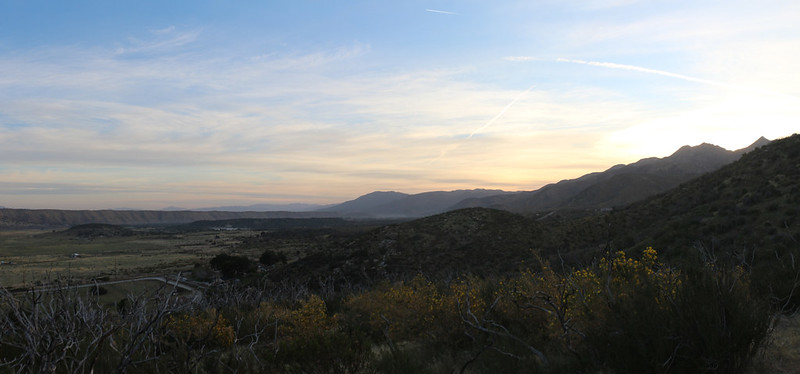 Dawn panorama view northeast from the PCT with the Mojave River Forks on the left