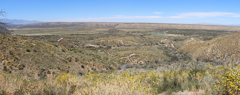 Panorama view north looking out over the Mojave River Forks