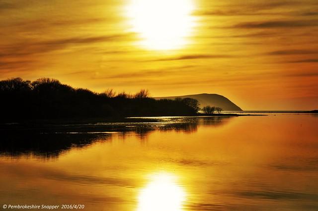 Sunset over Dinas Head, Newport, Pembrokeshire, Wales, Uk