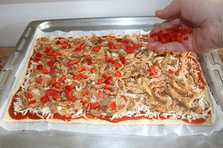 12 - Add diced bell pepper / Paprikawürfel aufstreuen