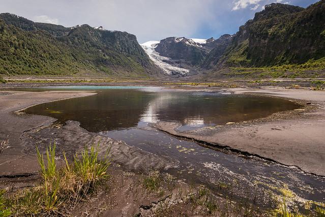 Michinmahuida glacier with pond reflexion