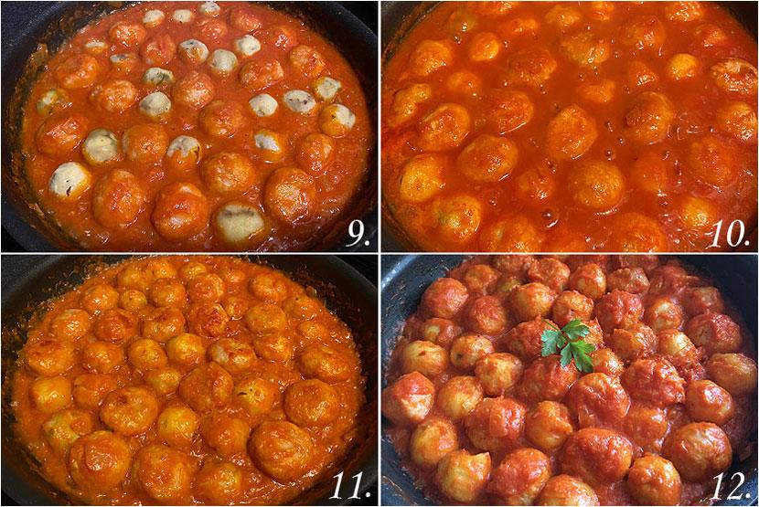 Albóndigas de pollo y pavo en salsa de tomate con papas 03